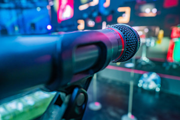 Microphone on stage. concerts Musical instruments. Show. Musical accompaniment.