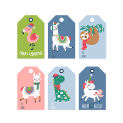 Christmas holiday cute gift tags and labels set.