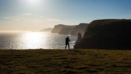 Exploring the beautiful shores of lake Sørvágsvatn in Faroe Islands