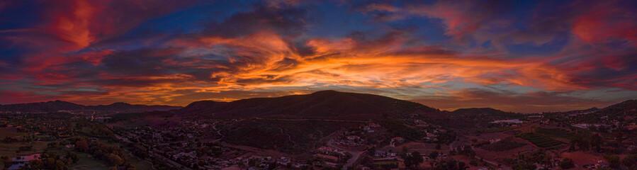 San Diego aerial sunset panoramic