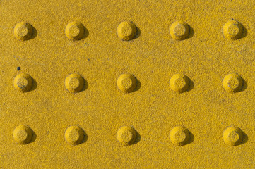 Tactile Paving Slabs Texture. Yellow Dot Walk Way, Blind Safety on Pavement and Footpaths