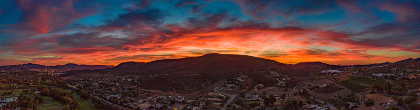 San Marcos sunset - North county San Diego, California, USA aerial panoramic