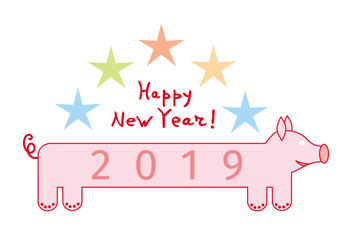 Cartoon pig with the inscription 2019. From above the stars and the text Happy new year. 2019 Year of the pig according to the eastern horoscope. Vector graphics.