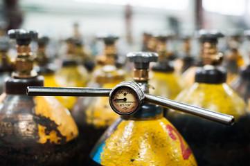 Pressure Tank and Regulator Gauges. Check manometer in liquid  gas factory.