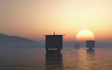 Viking Longships Approaching at Sunset - illustration