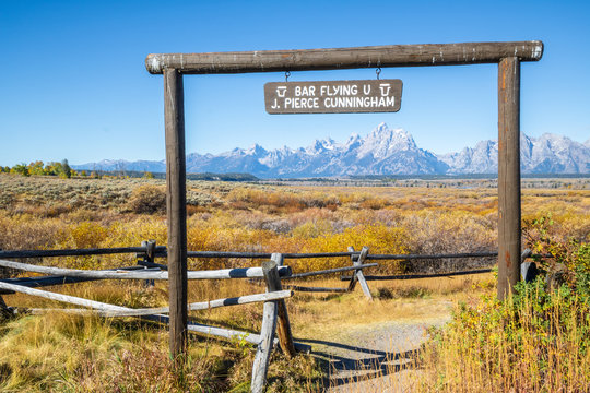 Sign for Bar Flying U Ranch in Grand Teton National Park