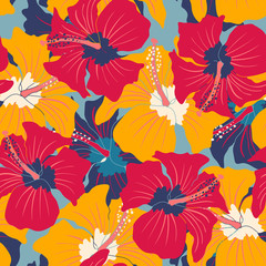 Retro floral pattern with hibiscus