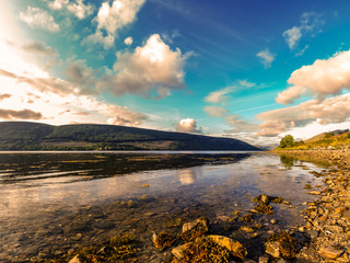 Loch Fyne shore in the Scottish region of Argyll at the end of the day