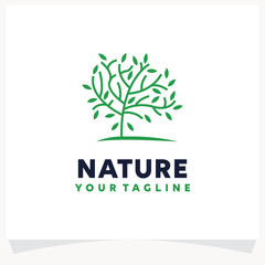 Nature Green Tree Logo Design Template