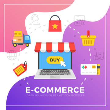 E-commerce. Flat design graphic elements. Modern vector illustration