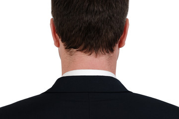 Rear view of the back of the head of a nusinessman