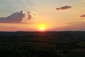 Sunset in a country landscape.