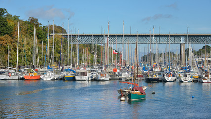 Port Rhu and bridge of Douarnenez, a commune in the Finistère department of Brittany in north-western France.