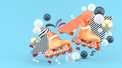 Orange sroller skates and orange skateboard amidst colorful balls on a blue background.-3d render..