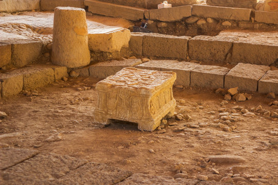 The ancient Magdala stone located in a 1st century synagogue dig