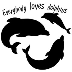 Silhouettes of dolphins on a white background. the family of dolphins and lettering