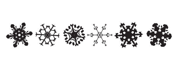 Vector silhouette of set of snowflakes.