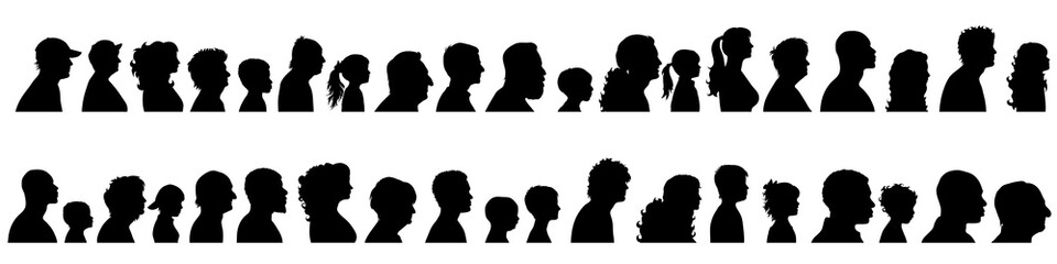 Vector silhouette of set of profile face of different people. Wall mural