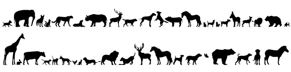 Vector silhouette of set of different animals.