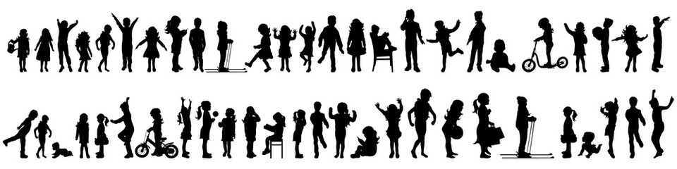 Vector silhouette of set of children. Wall mural