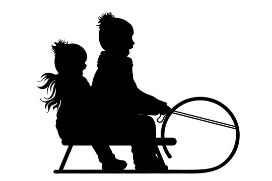 Vector silhouette of friends who sledding on snow toboggan.