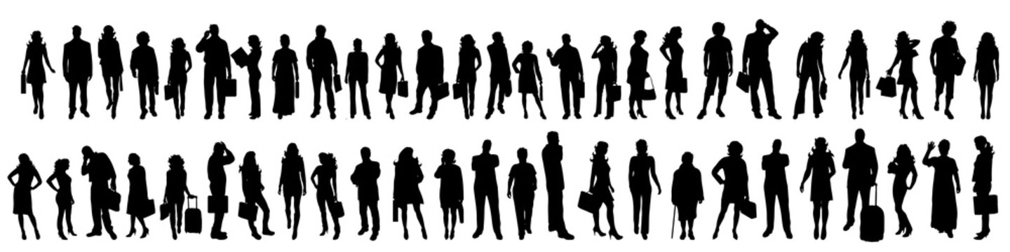 Vector silhouette of set of people.
