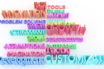 Abstract CGI typography, business related keywords. Wallpaper for graphic design.