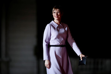 Estonia's President Kersti Kaljulaid arrives to attend a visit and a dinner at the Orsay Museum in Paris
