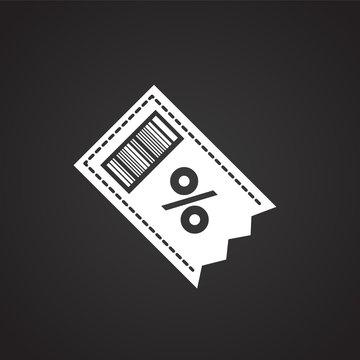Discount coupon on black background icon