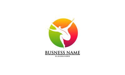simple Ballet logo, Simple ballerina Logo template designs