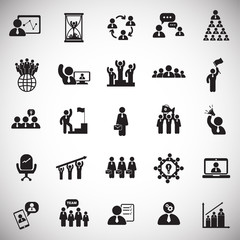 Teamwork and collaboration set on white background icons