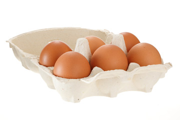 Paper egg container isolated on white background