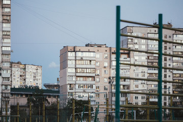 Ghetto architecture the collapse of the Soviet Union. Echo of the USSR. Country high-rise houses in the evening in Obolon district in the city of Kiev Ukraine