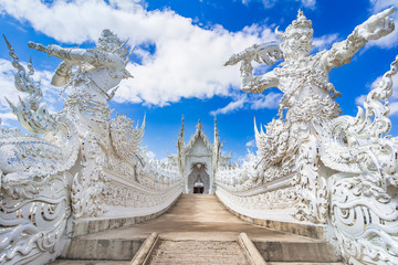 Chiang Rai, Thailand, Asia: Beautiful ornate white temple located in Chiang Rai northern Thailand, a contemporary unconventional Buddhist temple.