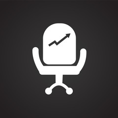 Businessman chair with diagram on black background icon