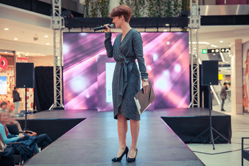Moderator of fashion shows at the business center