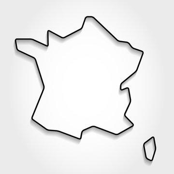 France black outline map