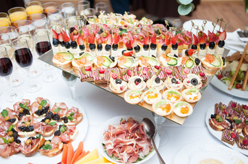 buffet table at the banquet. Festive food. Outgoing catering
