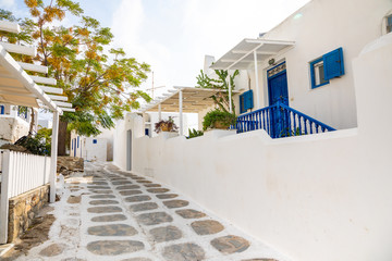 Traditional houses with blue doors and windows in the narrow streets of greek village in Mykonos,...