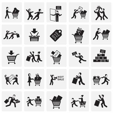 Black friday rush set on squares background icons