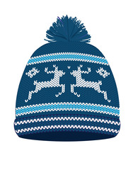 Blue knitted winter hat. vector illustration