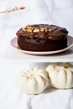 Chocolate date and walnut cake