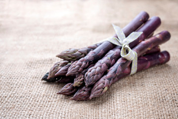 Row lilac Asparagus as close-up on a gunnysack