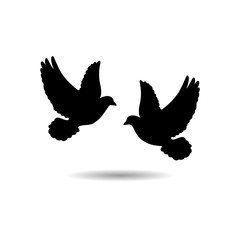 Two black pigeons icon or logo