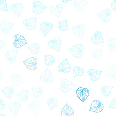 Light Blue, Green vector seamless natural artwork with leaves.