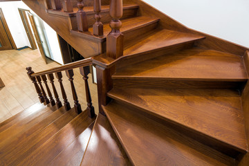 Close-up detail of brown wooden stairs
