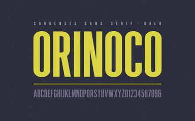Orinoko condensed bold san serif vector font, alphabet, typeface,