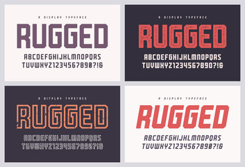Rugged san serif vector font, alphabet, typeface, uppercase letters and numbers