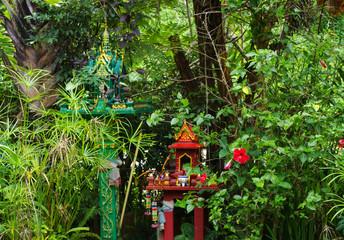 Buddhist shrine in forested Northwest Thailand - Soppong, Thailand
