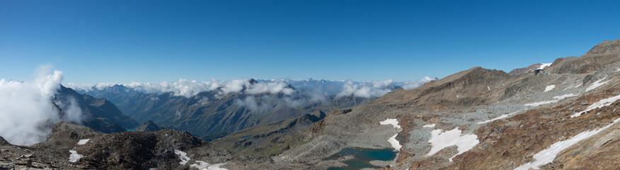 Panorama of Monte Rosa massif near Punto Indren. Alagna Valsesia area, Italy